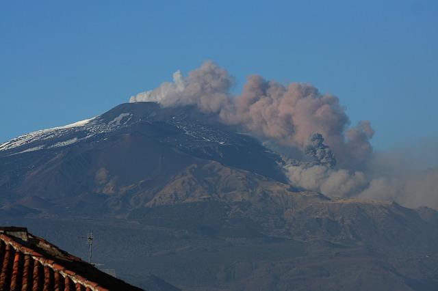 Volcano Etna erupting