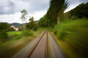 very fast train view