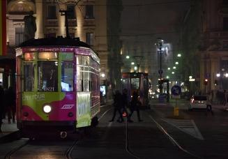 Milan, tram in the night