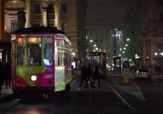 Milan, tram in the night