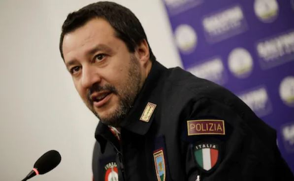 Matteo Salvini dressed as police officer